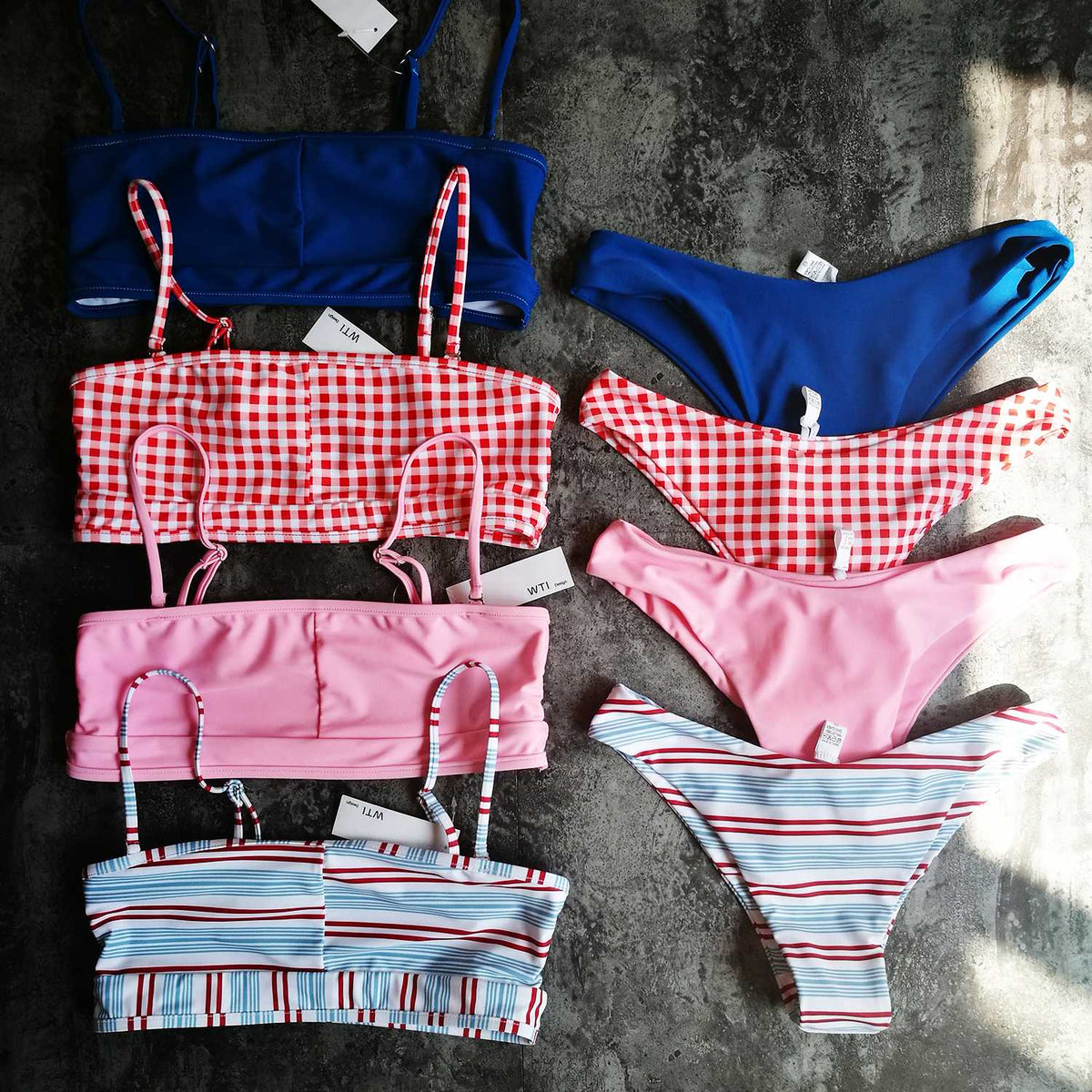 Red Gingham Crop Top High Cut Bikini Set - worthtryit.com