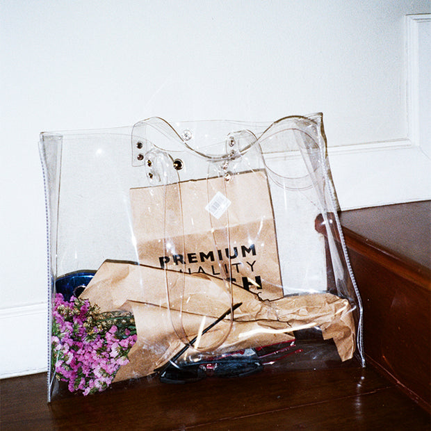 Oversized Clear Transparent Shopping Bag - worthtryit.com