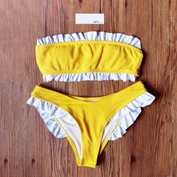 Ribbed Ruffle Trim Strapless Bandeaux Bikini Set - worthtryit.com