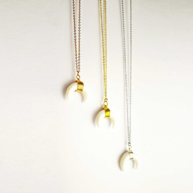 "Double Horn Moon Crescent Pendant Necklace With 16"" 925 Sterling Silver 1.2mm ""O"" chain - worthtryit.com"