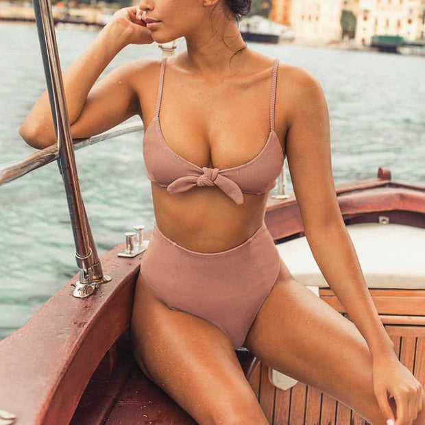 Ribbed Tie Bow Front Strappy High Waist High Cut Bikini Set - worthtryit.com