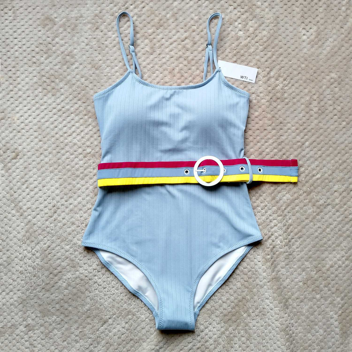 Ribbed High Cut One Piece Womens Monokini Bikini Swimsuits with Multicolored Stripe Belt - worthtryit.com