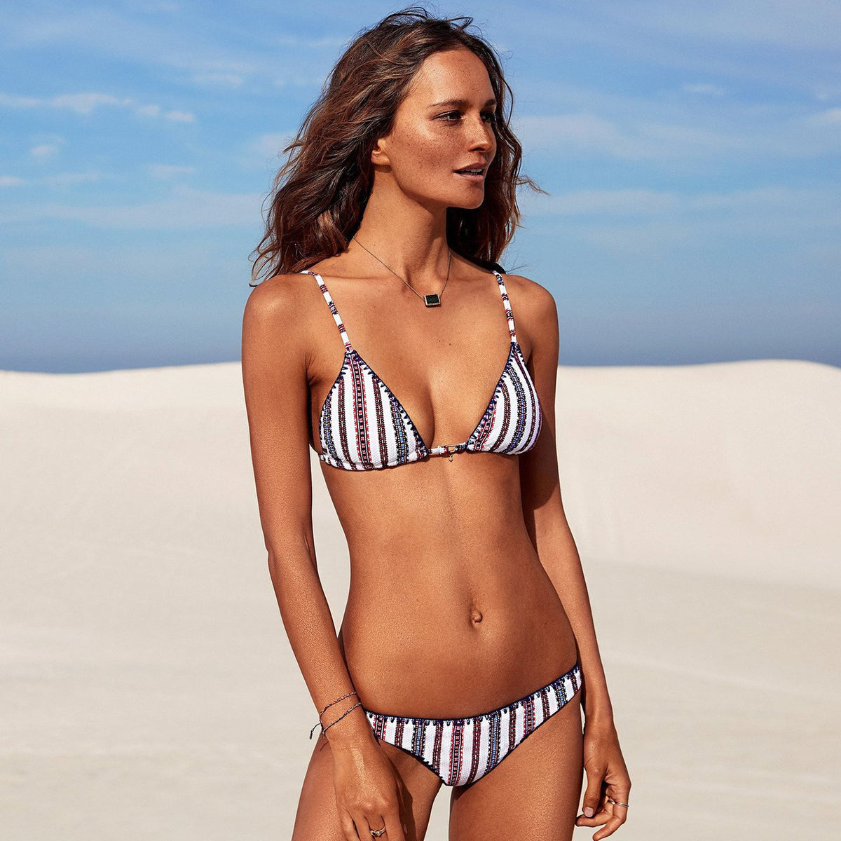 Crochet Trim Stripped Bikini Set - worthtryit.com