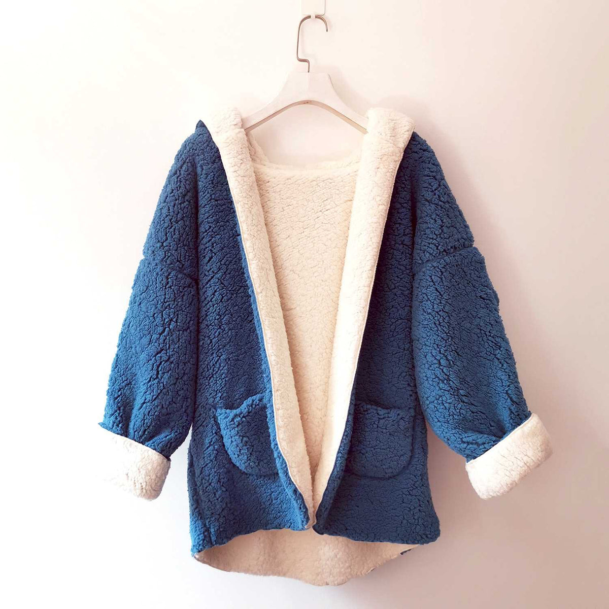 Reversible Oversized Soft Fuzzy Hoodie Coat - worthtryit.com