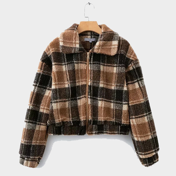 Checked Fuzzy Teddy Short Jacket Coat - worthtryit.com
