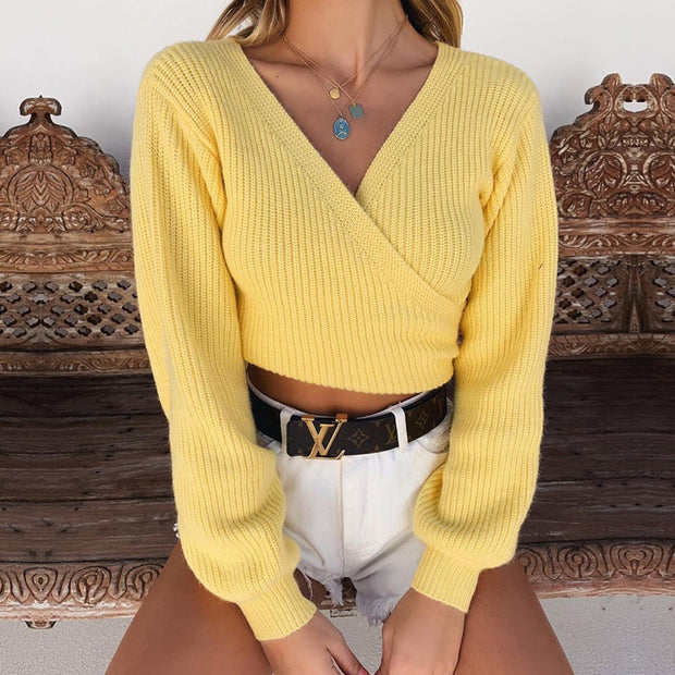 Wrap Over Puff Shoulder Knit Short Sweater - worthtryit.com