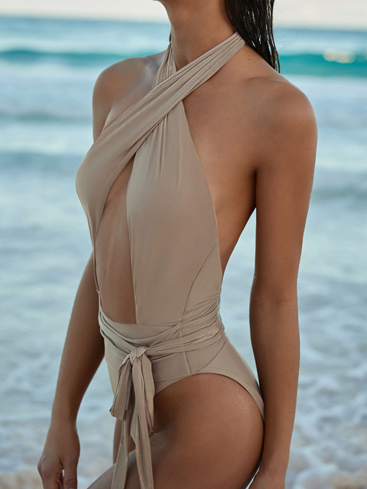 Halter Tie Up One Piece Swimsuit LG20 - worthtryit.com