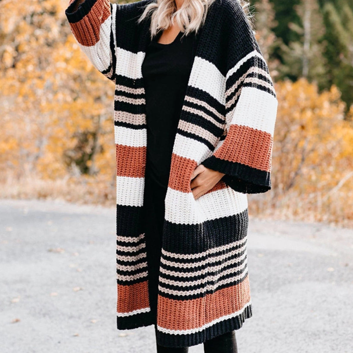 Colorful Stripes Bell Sleeve Long Cardigan