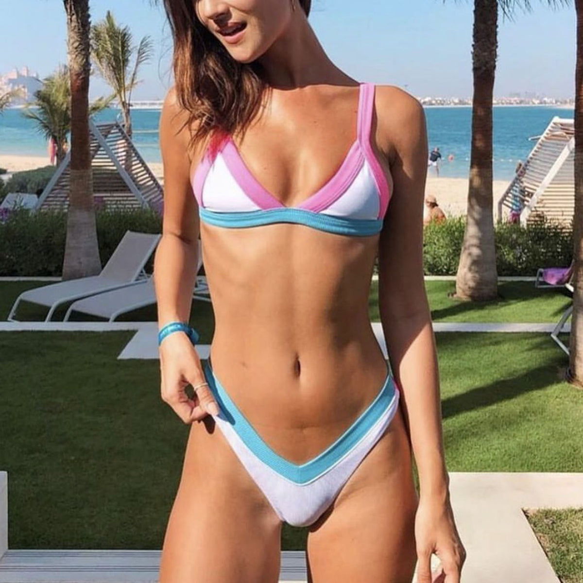 Ribbed Color Block Triangle Bikini Swimsuit XX20 - worthtryit.com
