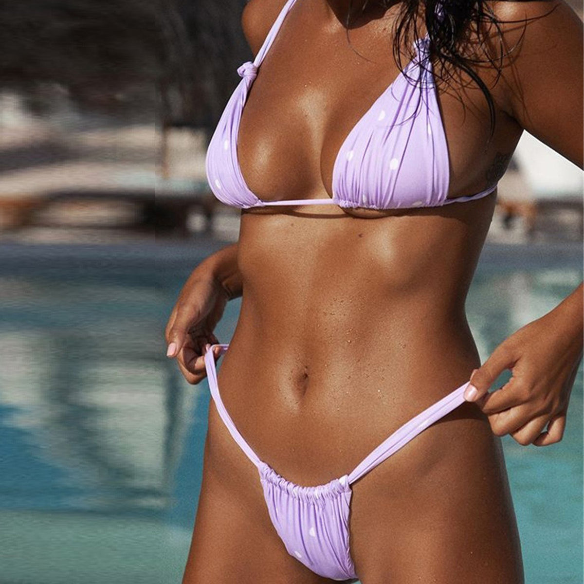 Scrunch Triangle High Leg Bikini Swimsuit - worthtryit.com