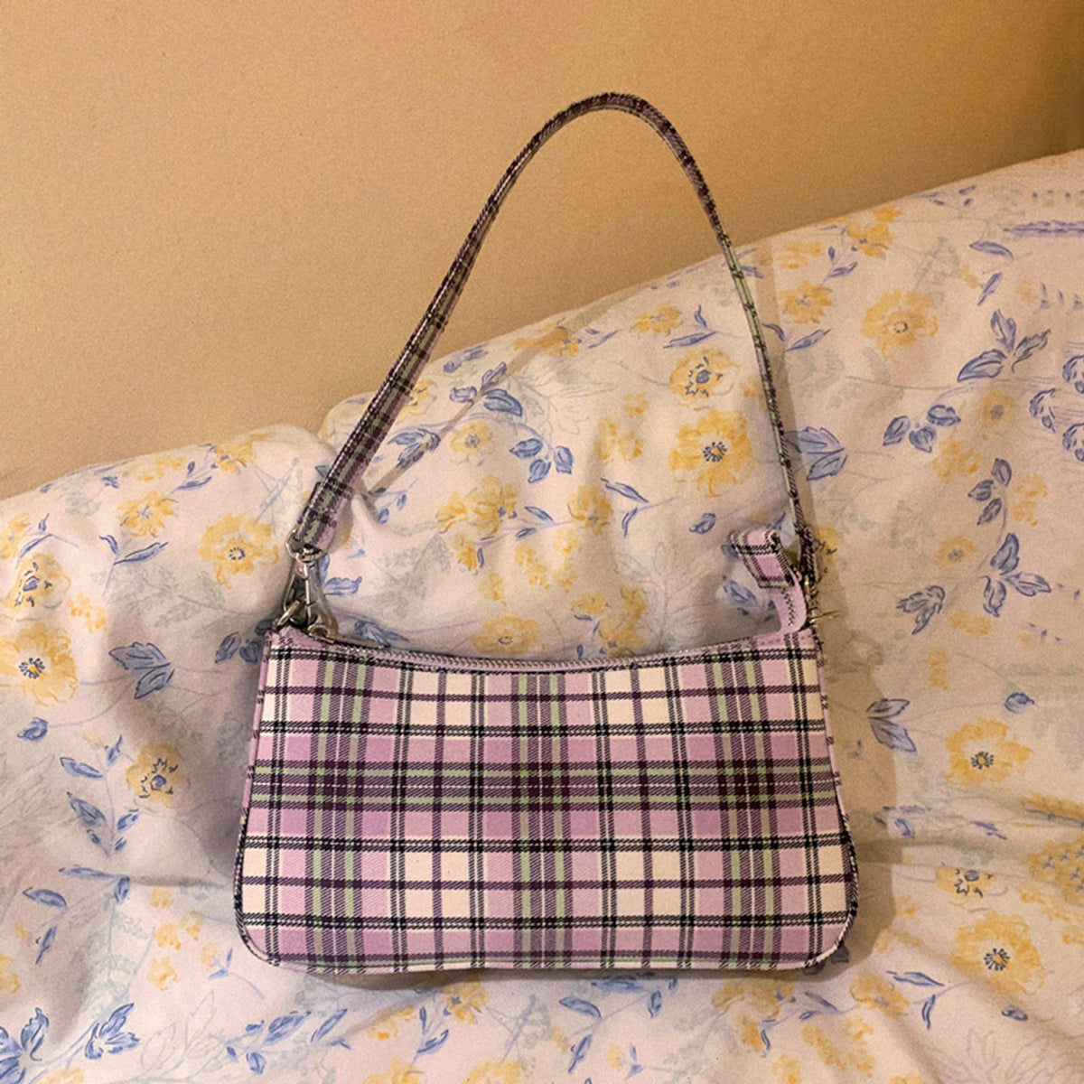 Vintage Checked Shoulder Bag