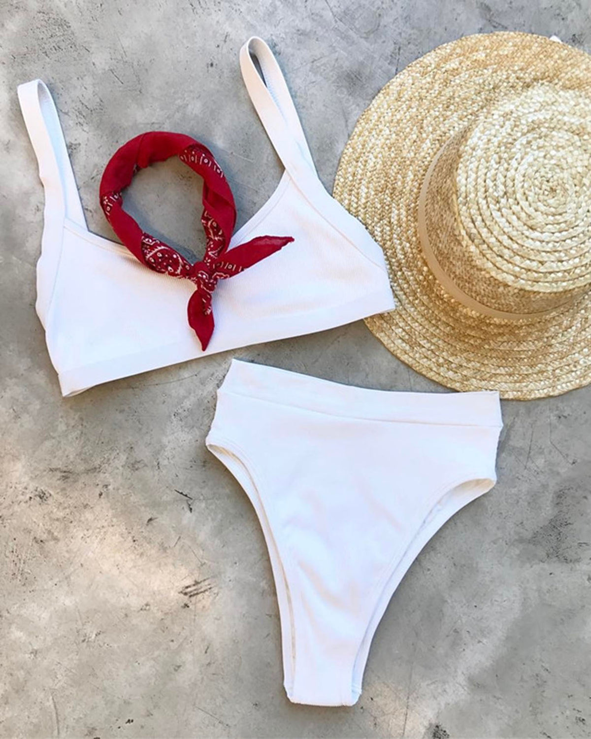 Solid Color Ribbed High Waisted Crop Top Bikini Set - worthtryit.com