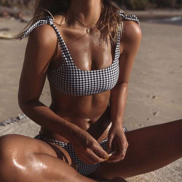 Gingham Bow Tie High Rise Bikini Set - worthtryit.com