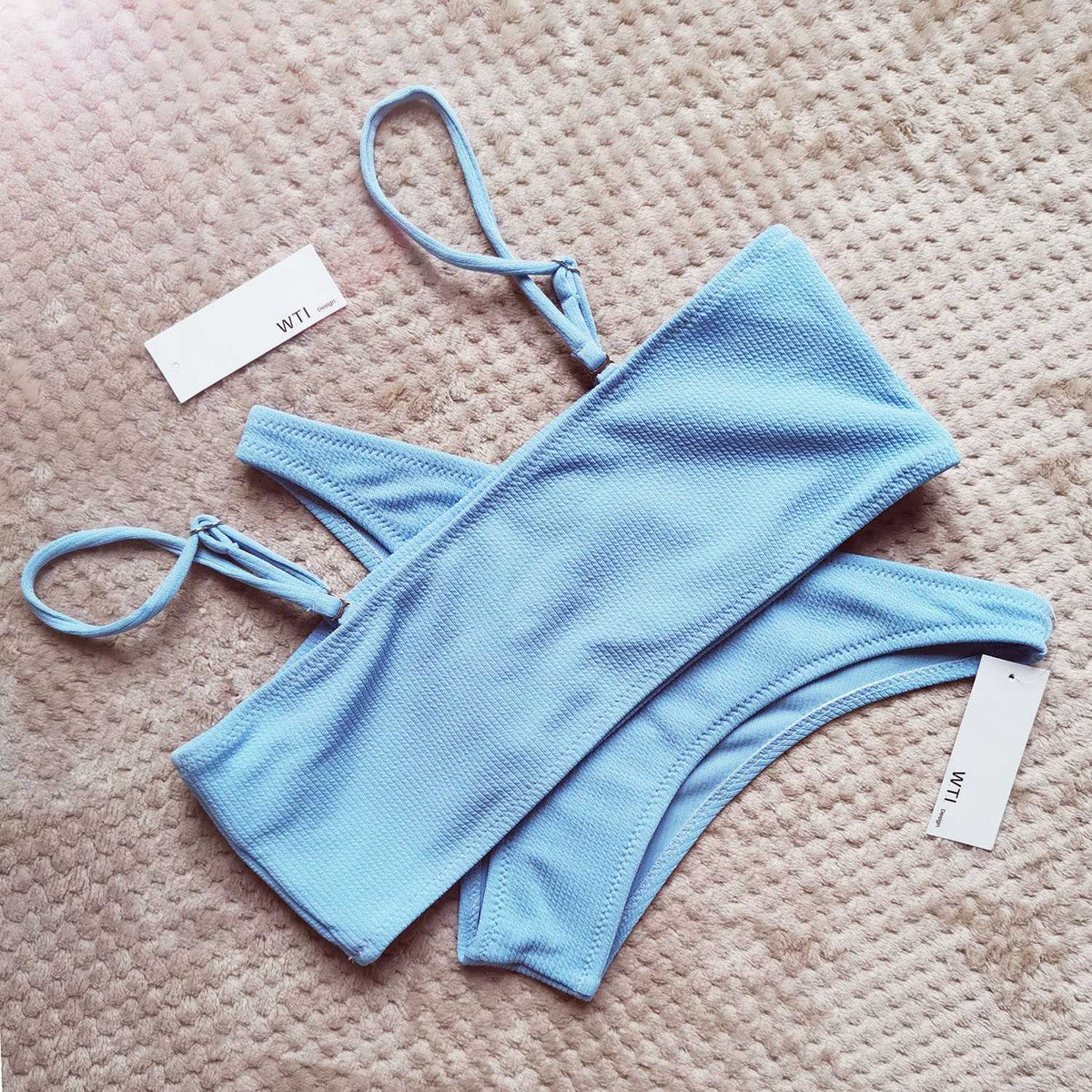 Solid Color Ribbed High Cut Bandeau Strapless Bikini Set - worthtryit.com