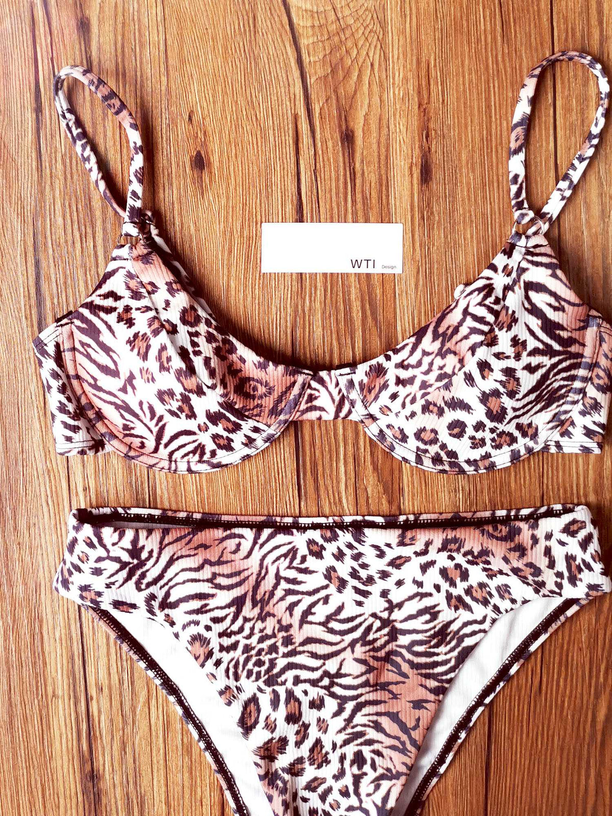 Tiger Animal Ribbed Underwire High Waist Bikini Swimsuit - worthtryit.com