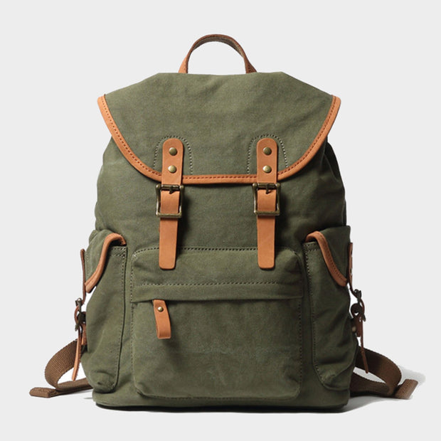 Vintage Style Canvas & Leather Rucksack Backpack 14""