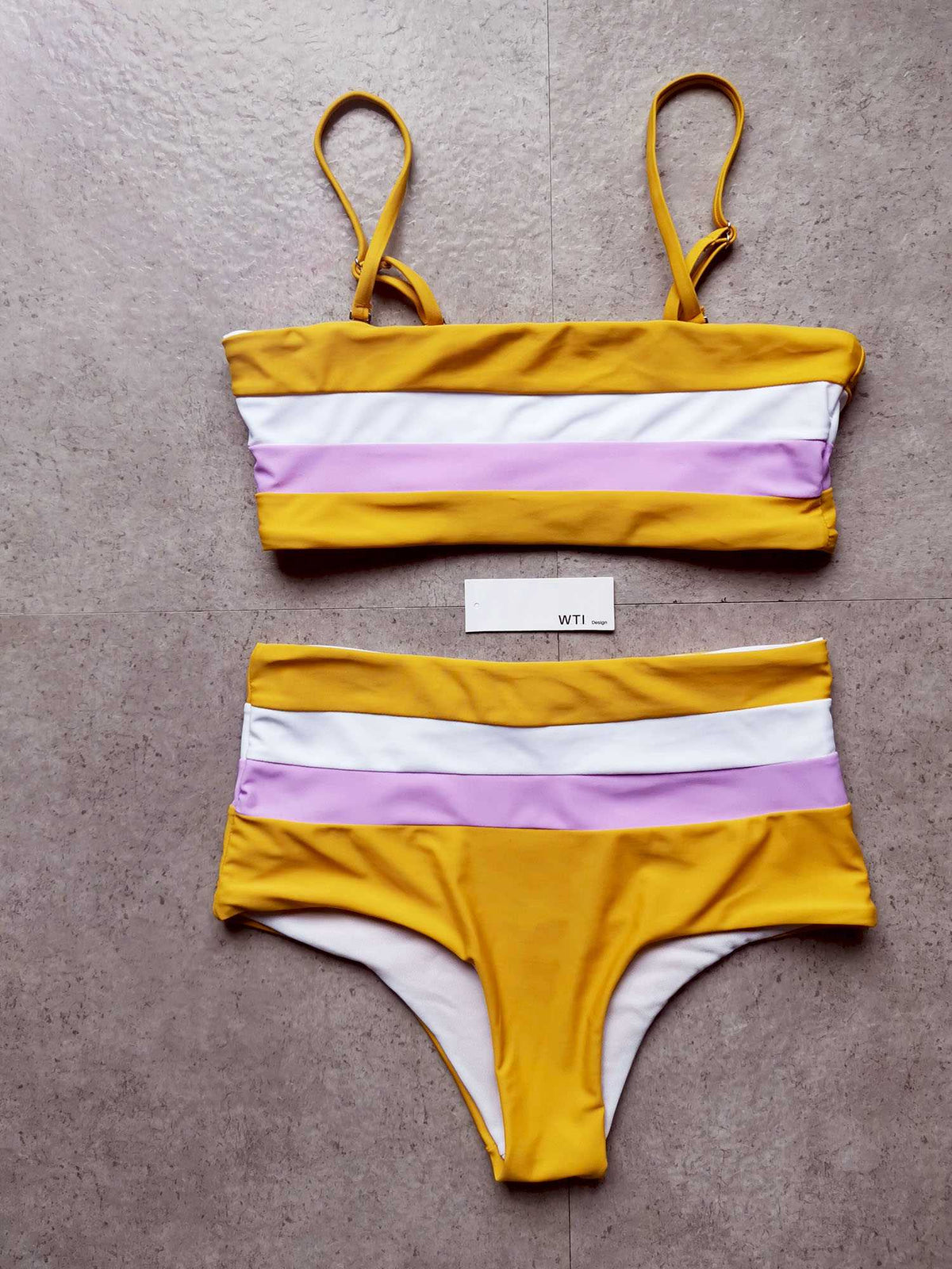 Color Block Strappy High Waisted Crop Top Bikini Set - worthtryit.com
