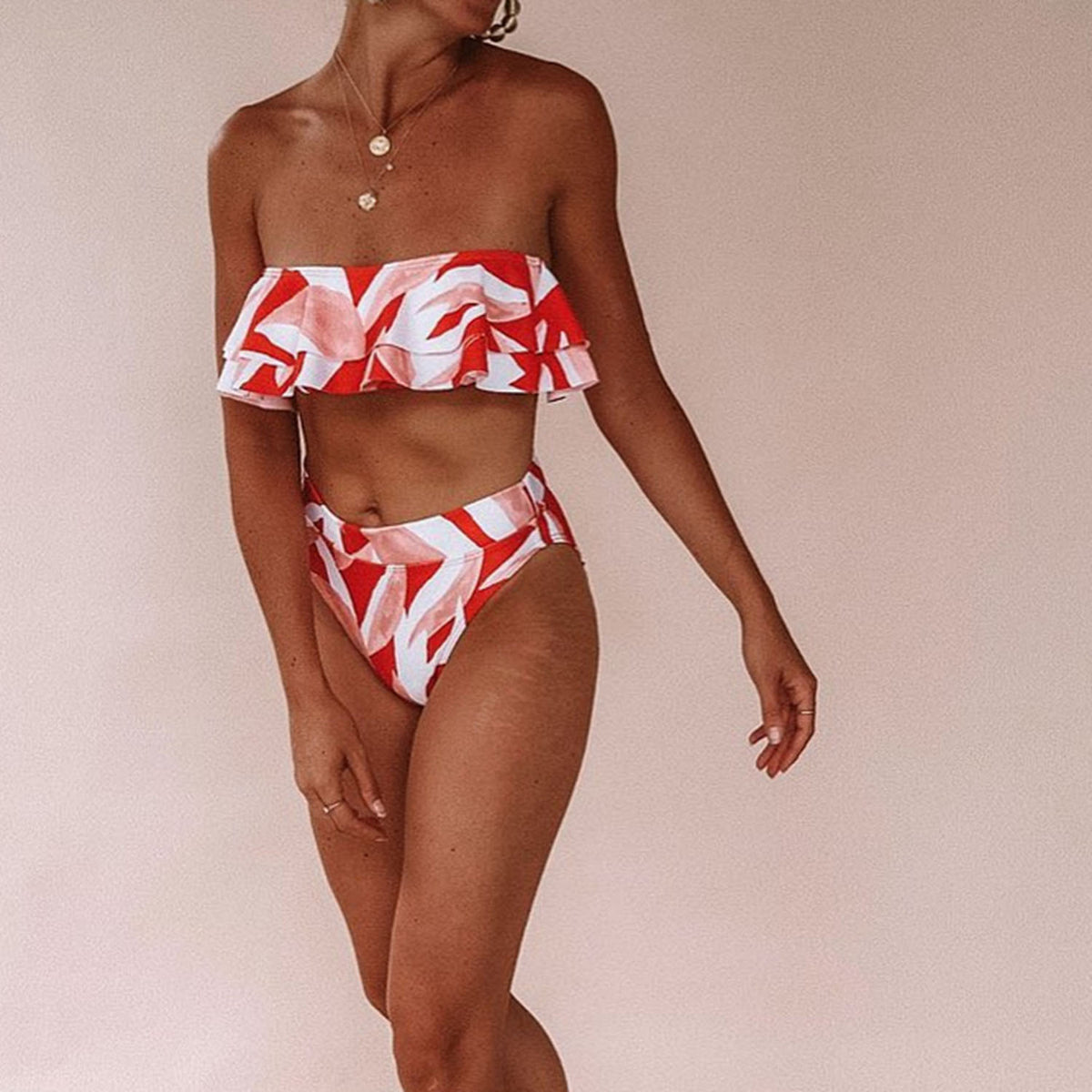 Ruffle Bandeaux High Waisted Bikini Set - worthtryit.com