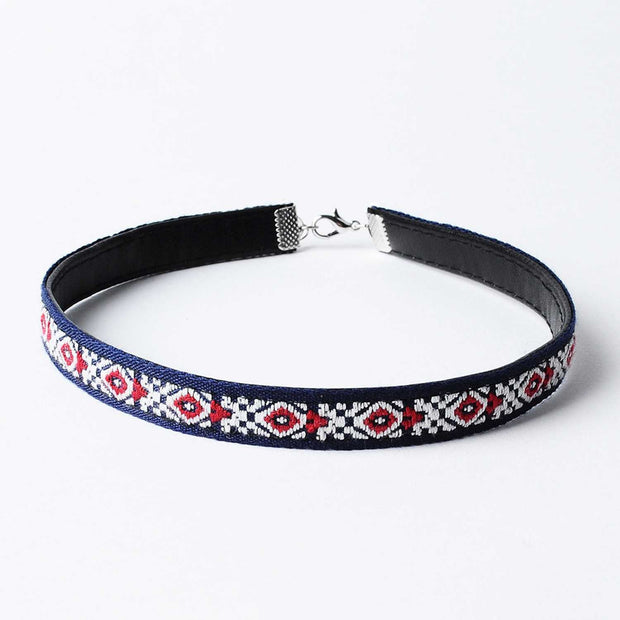 Aztec Choker Necklace-Navy & Red - worthtryit.com