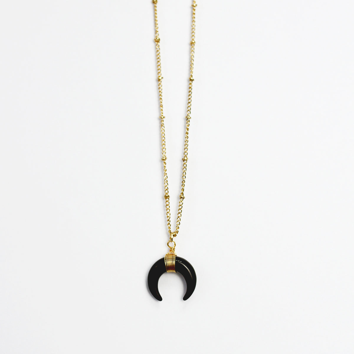 Handmade Double Horn Crescent Pendant Beaded Necklace - worthtryit.com