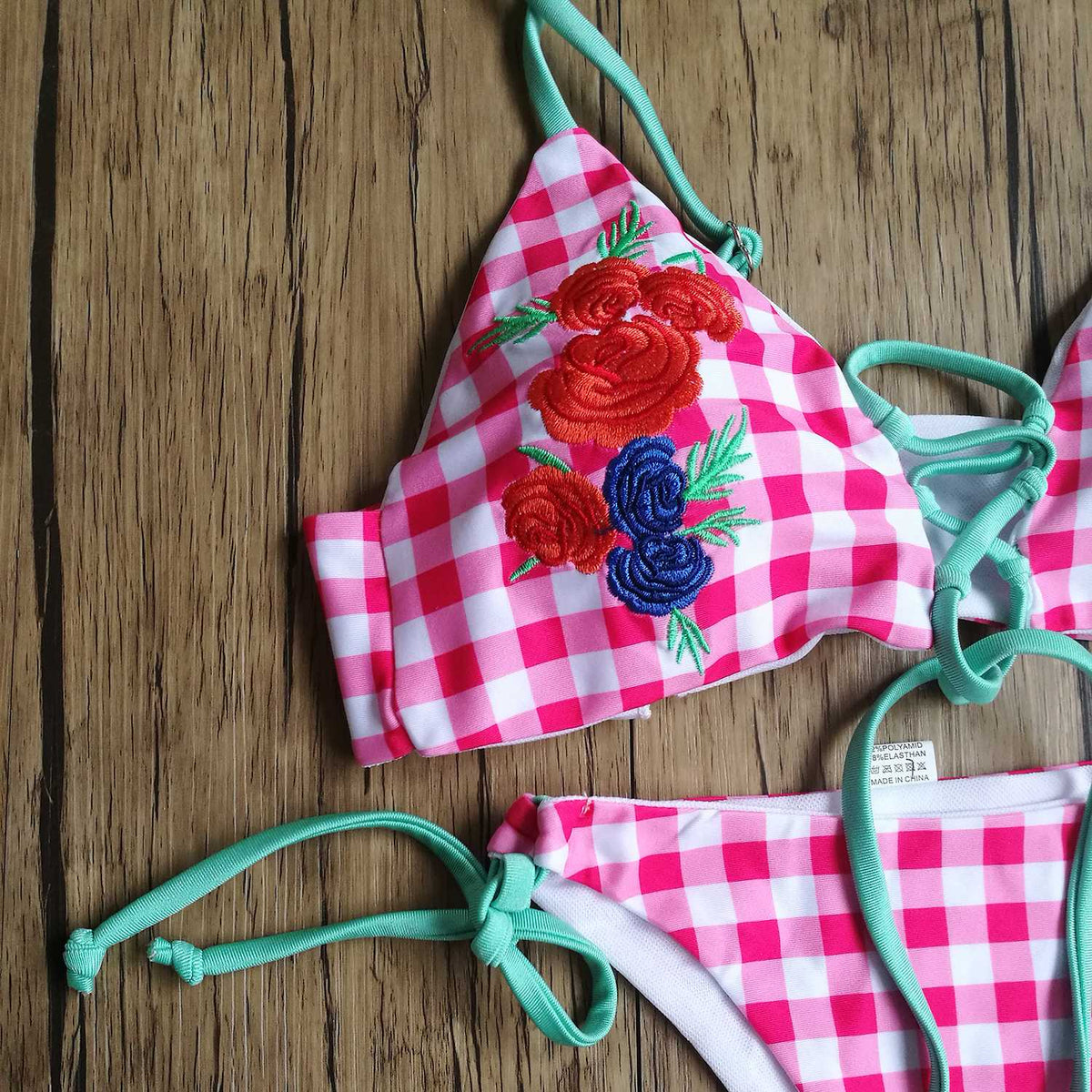 Floral Embroidered Gingham High Rise Bikini Set - Red - worthtryit.com