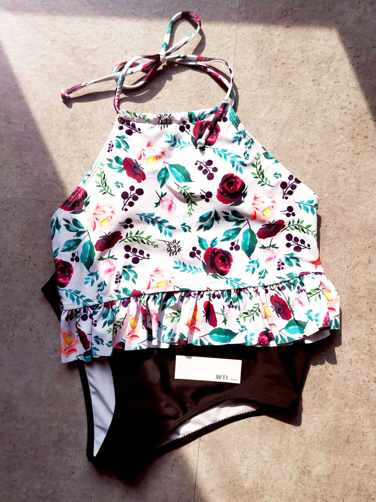 Floral Print Ruffle Hems High Neck Two Piece Bikini Set - worthtryit.com