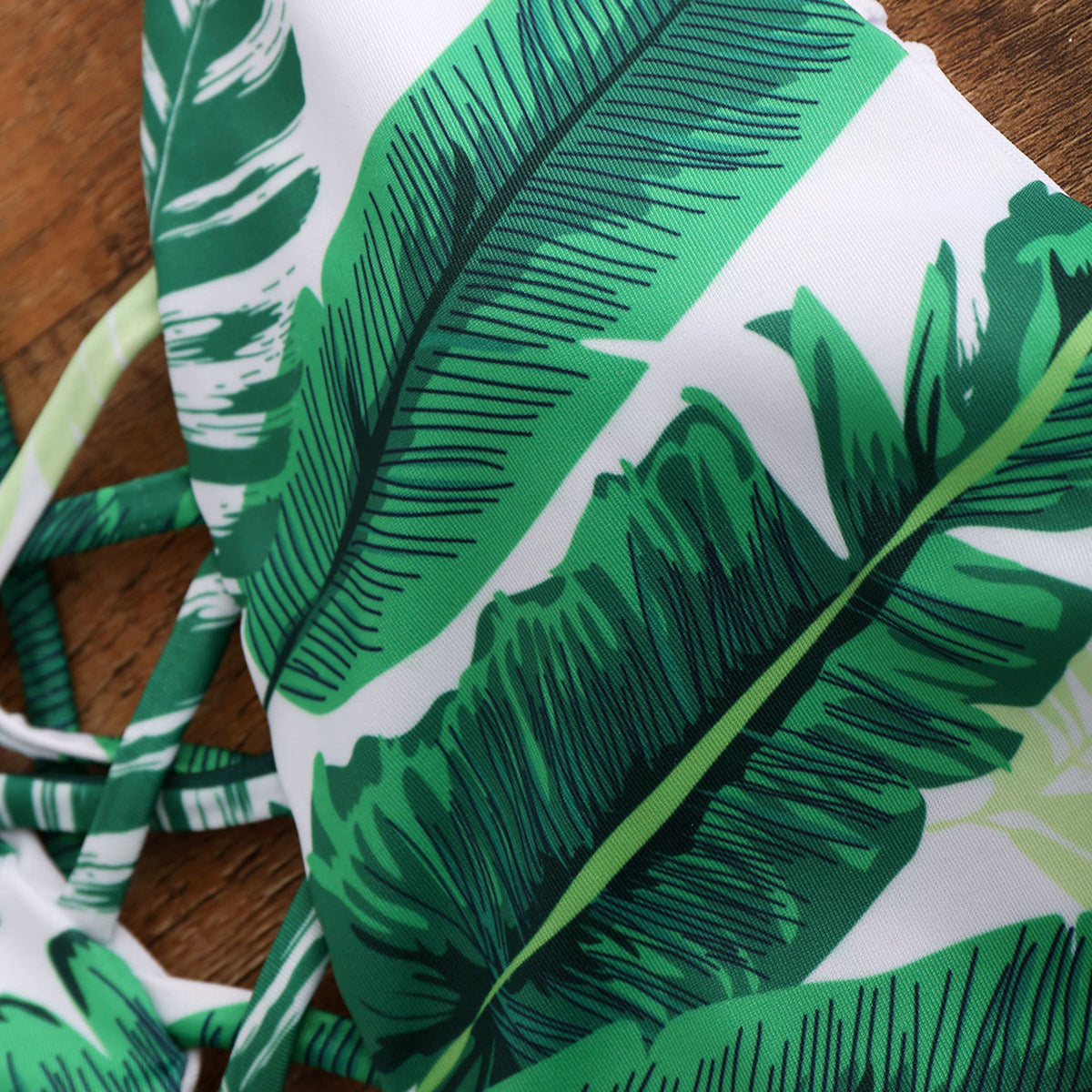 Leaves Print Lace Up One Piece Bikini - worthtryit.com