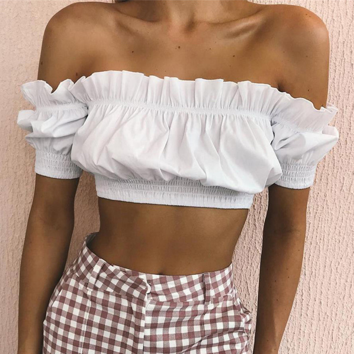 Ruffle Hem Off Shoulder Bandeaux Crop Top - worthtryit.com