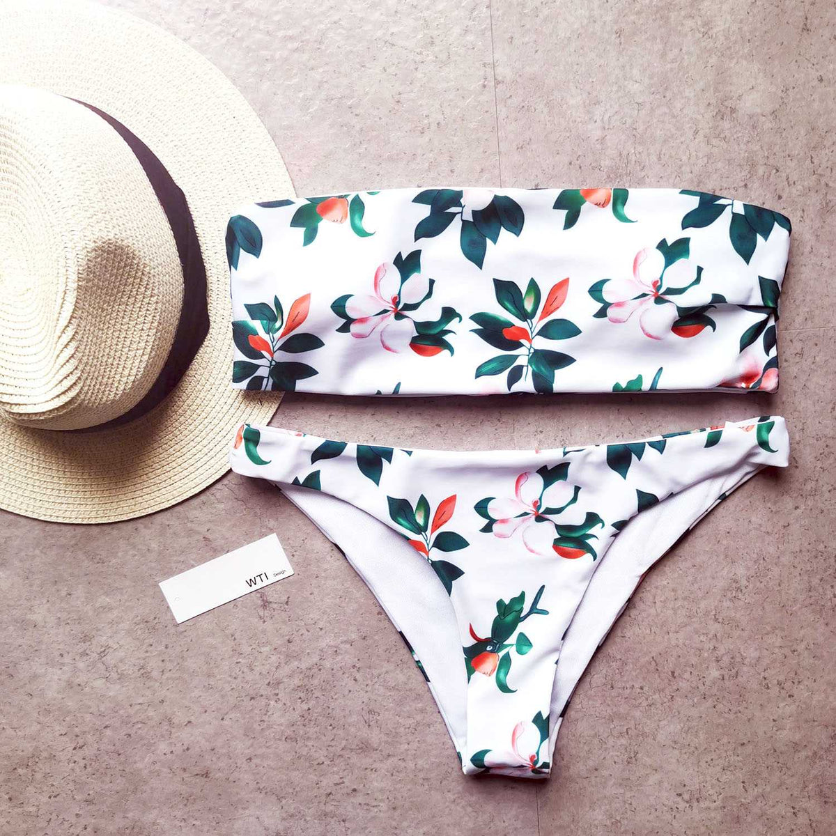 Floral Print High Cut Bandeaux Bikini Set - worthtryit.com