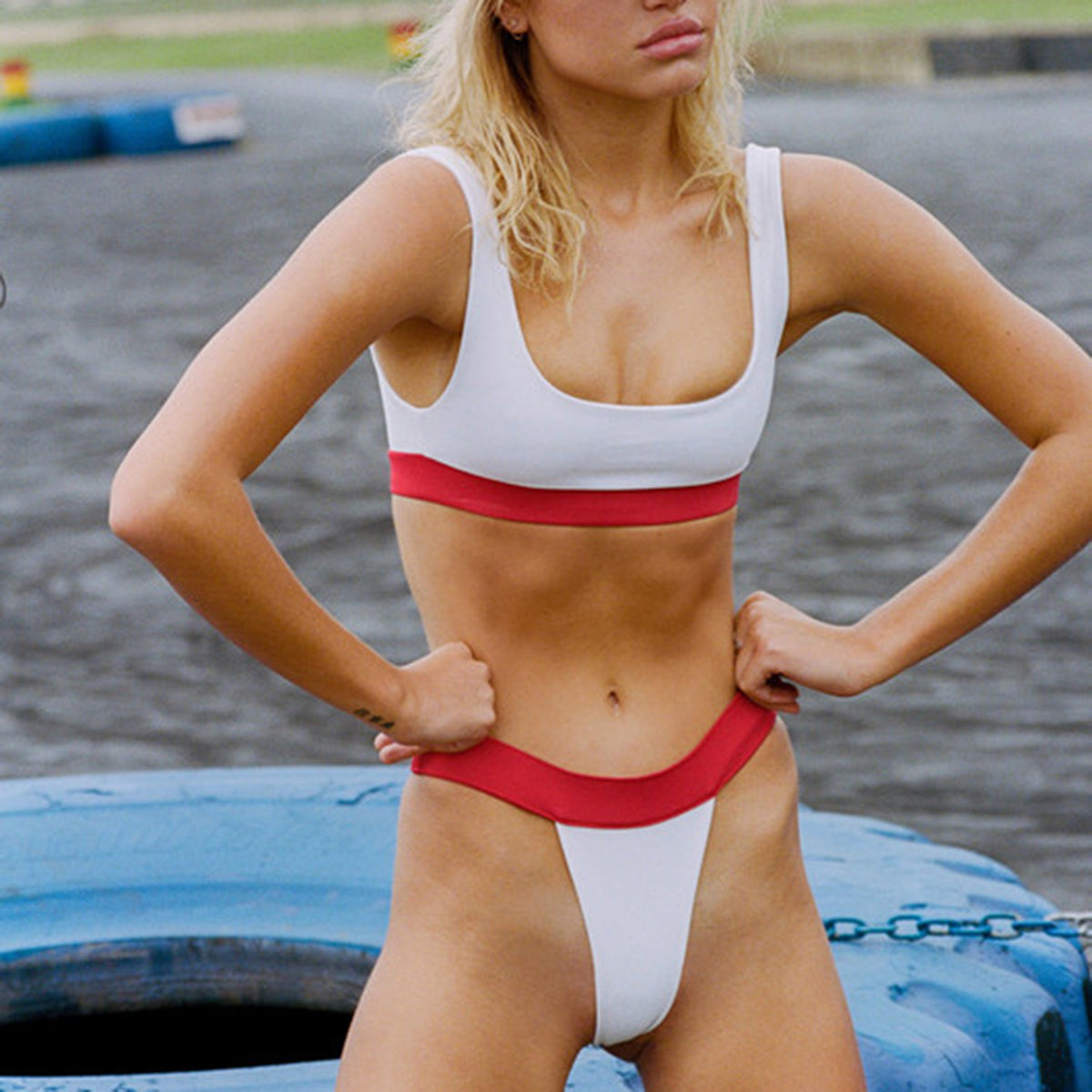 Color Blocked Sporty Crop Top High Cut Bikini Set - worthtryit.com