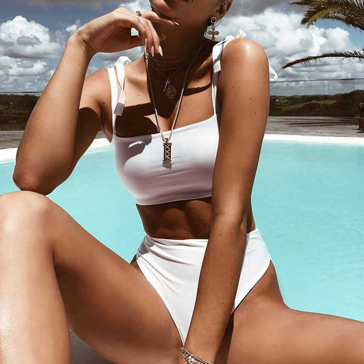Shoulder Tie High Waist High Cut Bandeaux Bikini - worthtryit.com