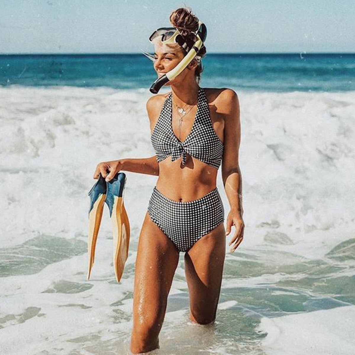 Gingham Bow Tie Front Crossed Back High Waist Bikini Set - worthtryit.com