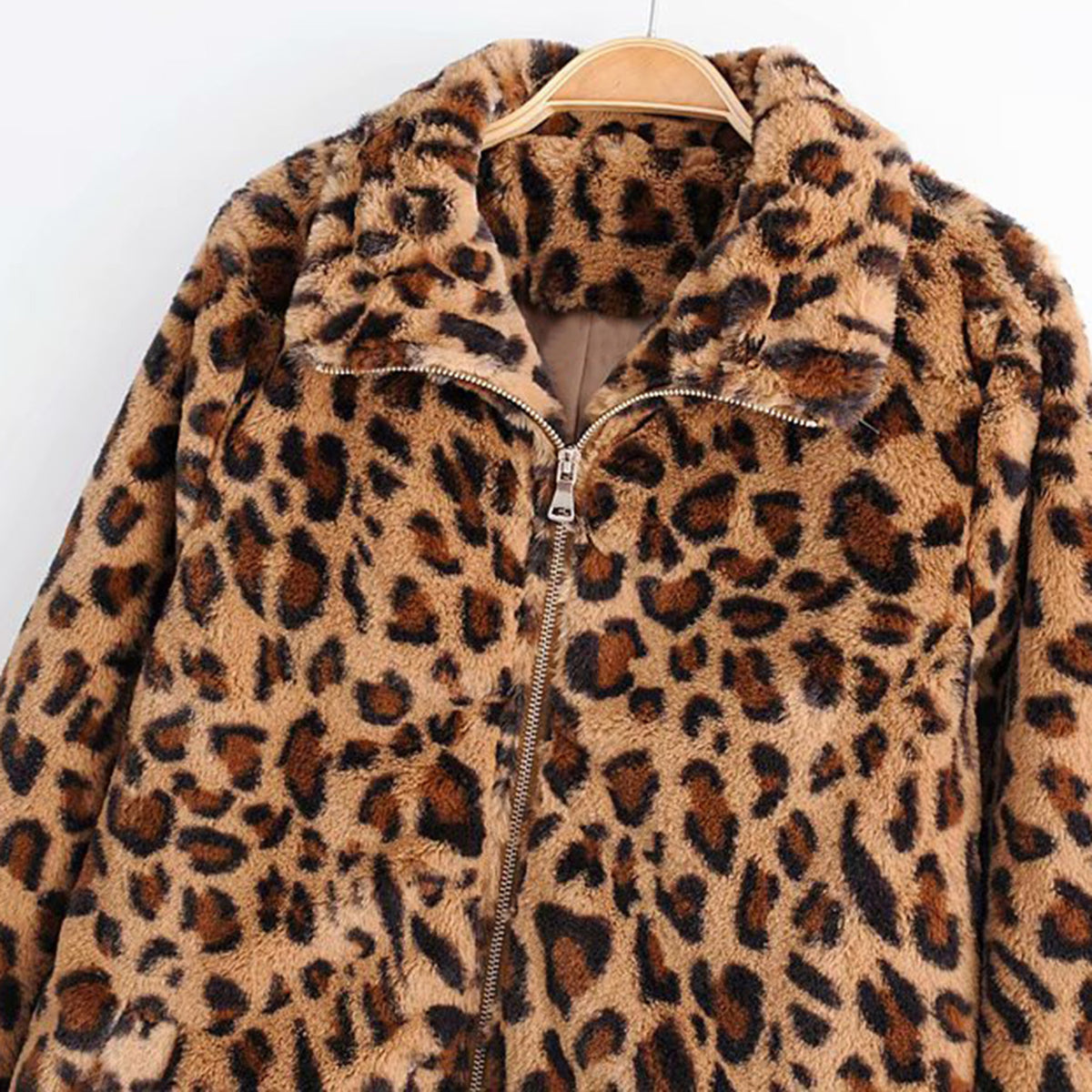 Leopard Teddy Sweater Faux Fur Jacket - worthtryit.com