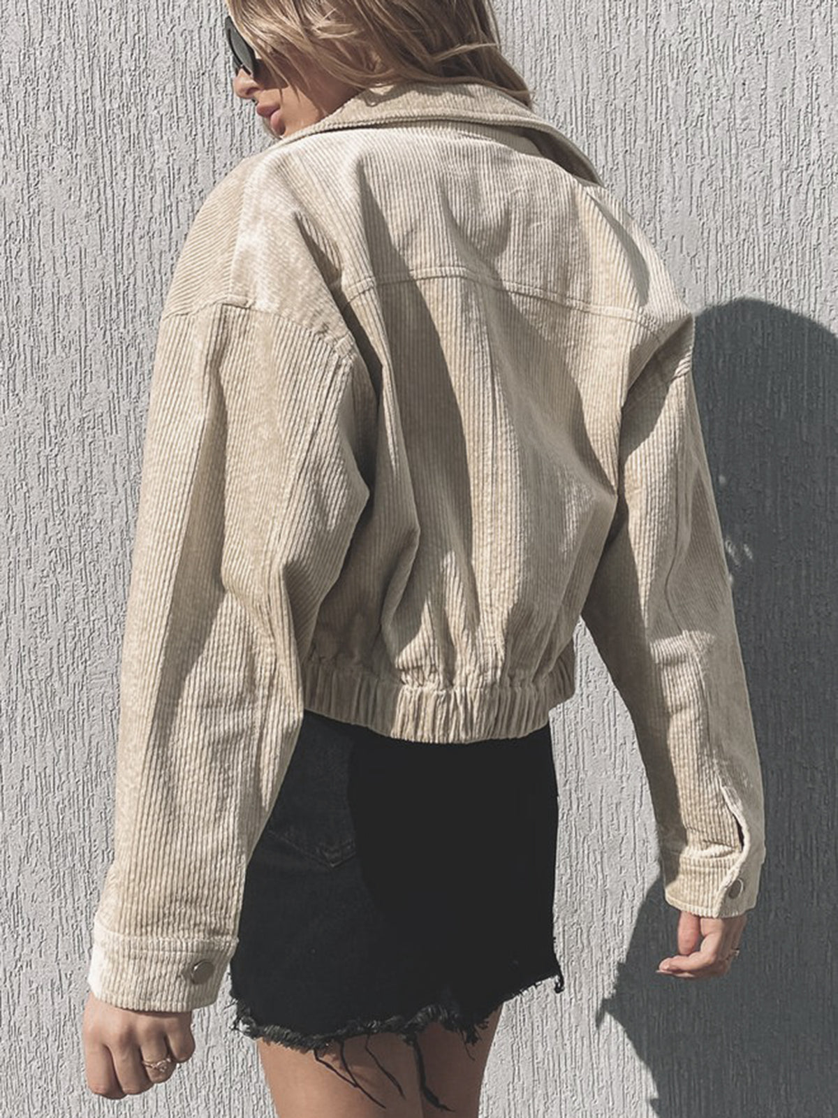 Cute Cord Short Jacket-Beige