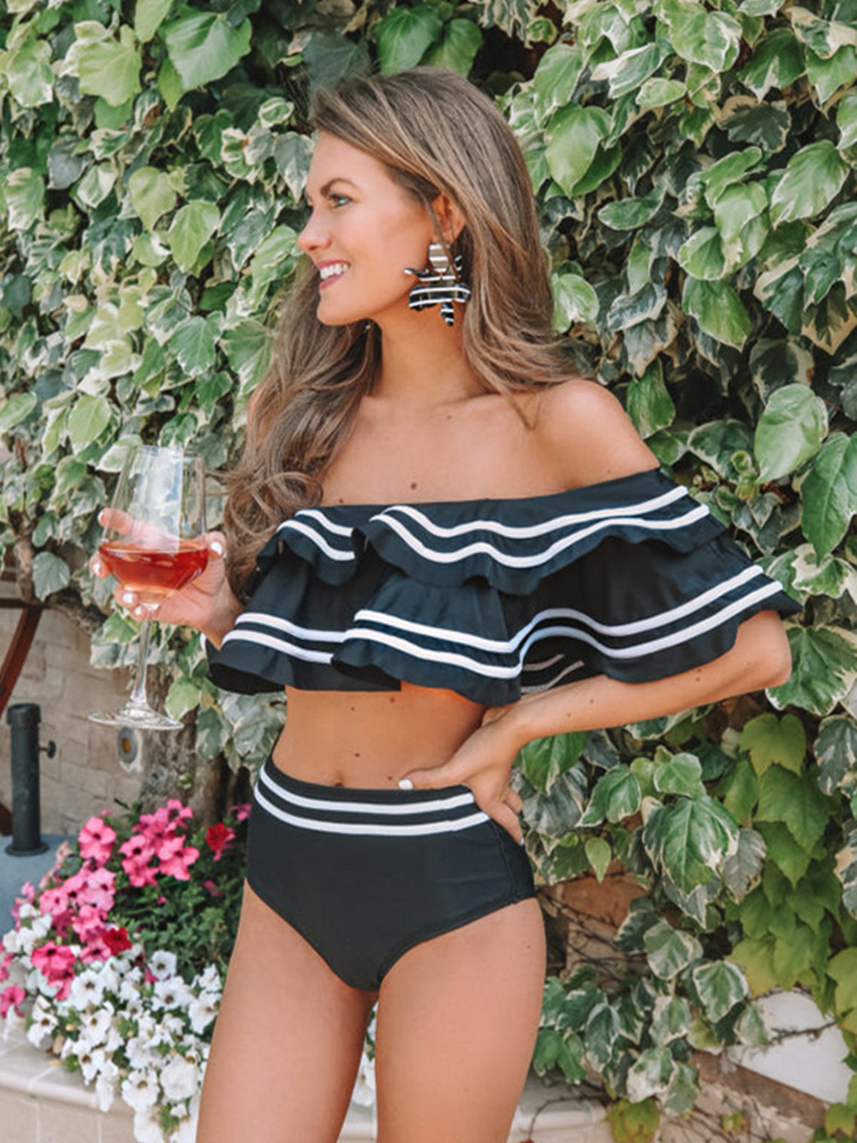 Color Block Ruffle Off Shoulder High Waist Bikini Swimsuit - worthtryit.com