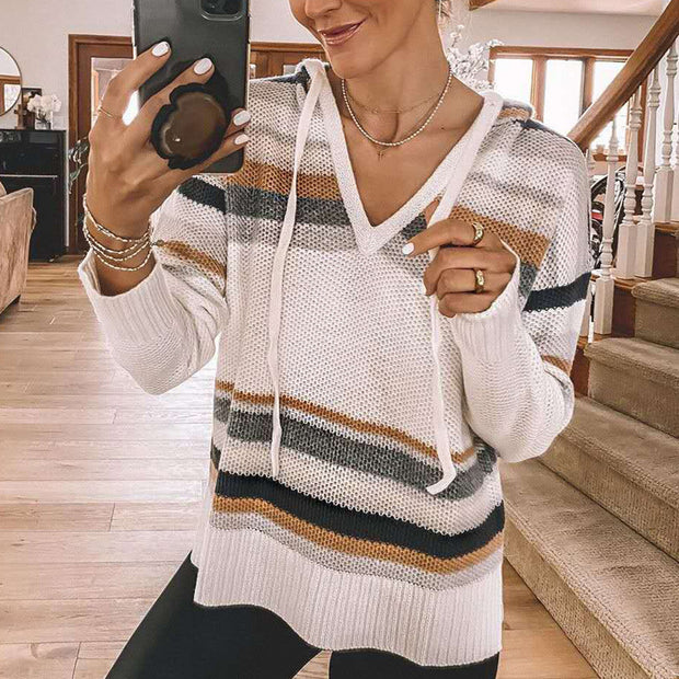 Stripes V Neck Knit Sweater With Hood  FR20
