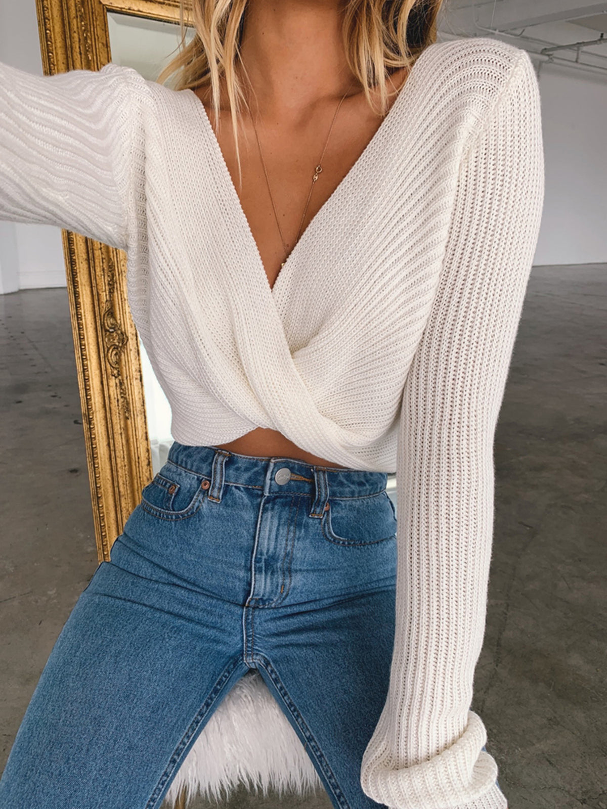 Twisted Front Knit Long Sleeve Sweater - worthtryit.com