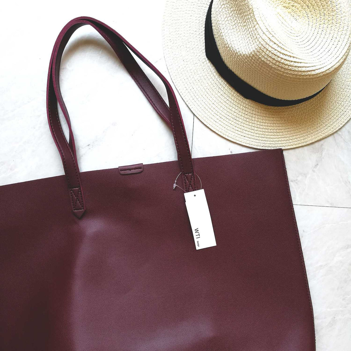 Oversized Brown Faux Leather Tote Bag - Burnt Orange - worthtryit.com
