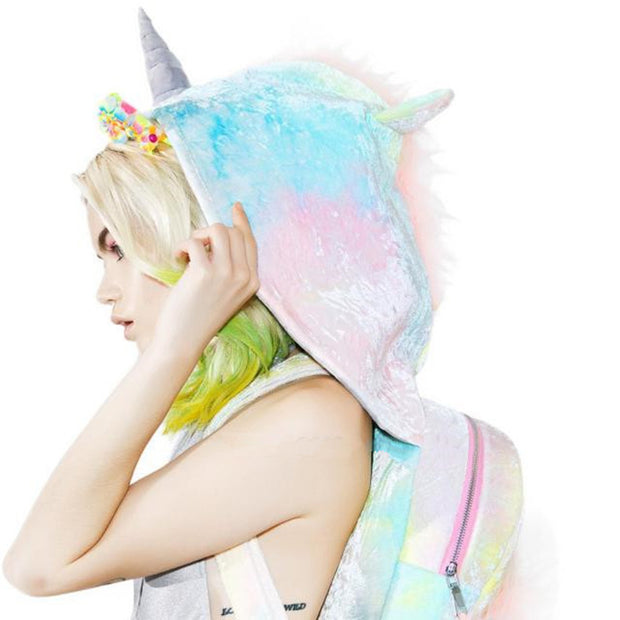 Unicorn Hoodie Kid Faux Fur School Backpack