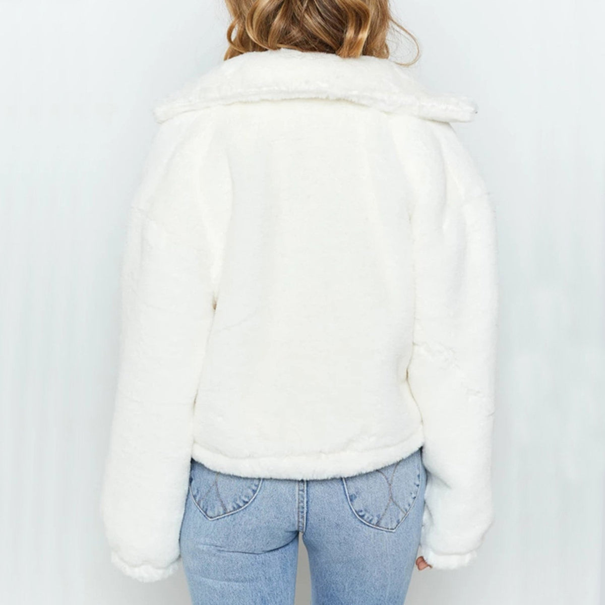Faux Fur Short Jacket-White - worthtryit.com
