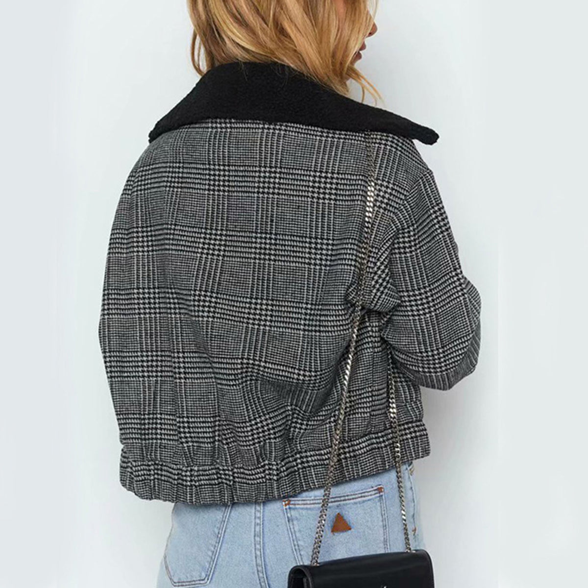 Hound-tooth Check Short Jacket - worthtryit.com