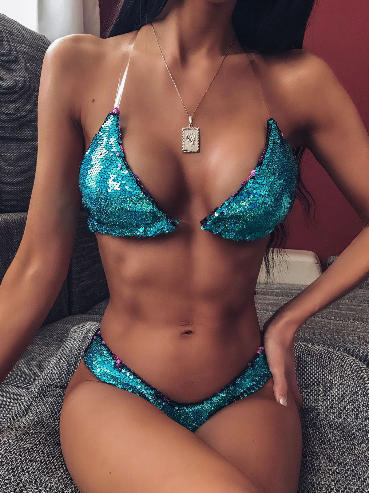 Reversible Sequin Clear Straps Bikini Swimsuit - worthtryit.com