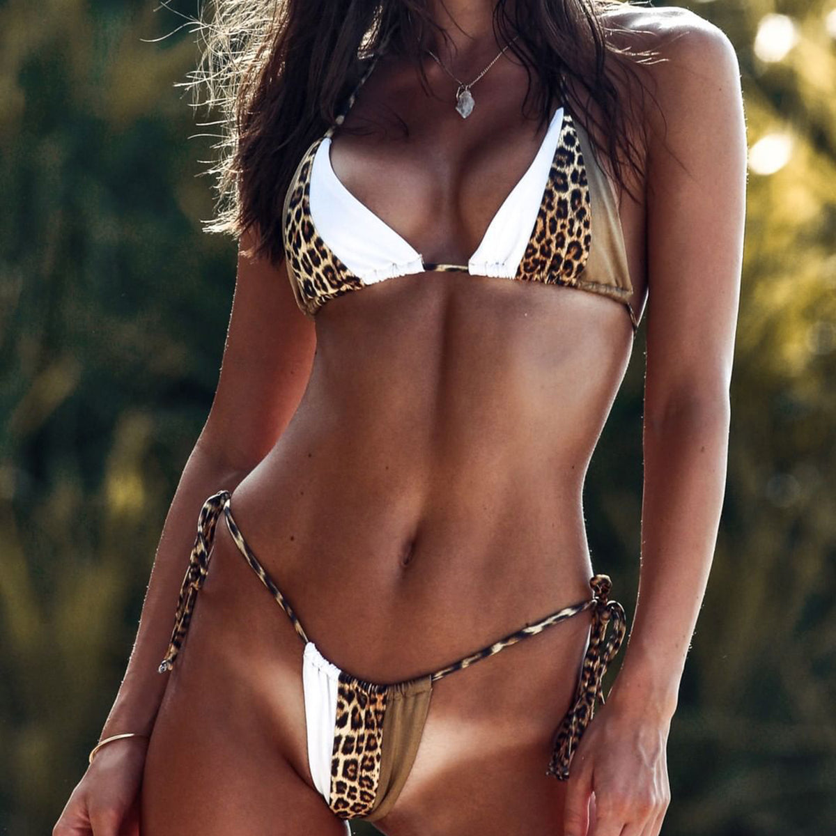 Cheeky Leopard Blocked Triangle Bikini Swimsuit - worthtryit.com