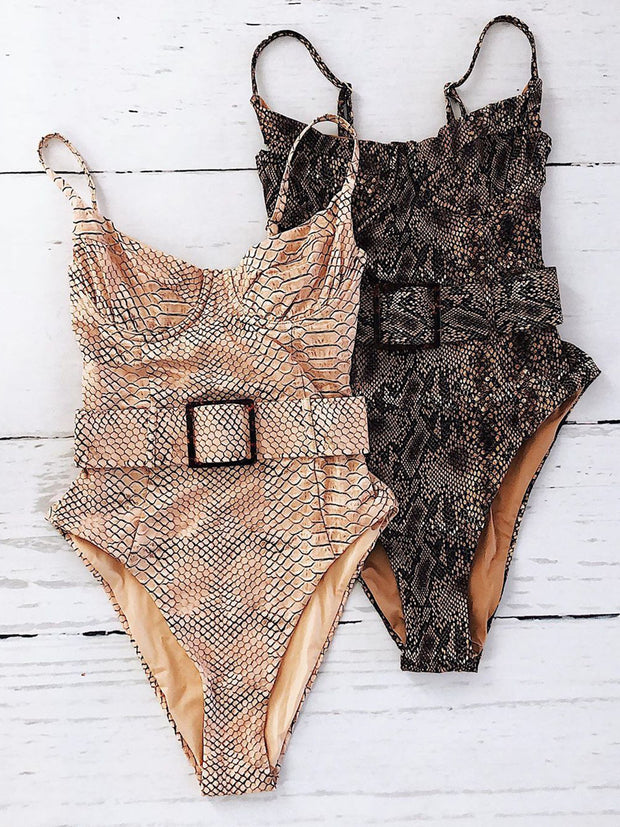 Snake Underwire One Piece Swimsuit With Belt - worthtryit.com