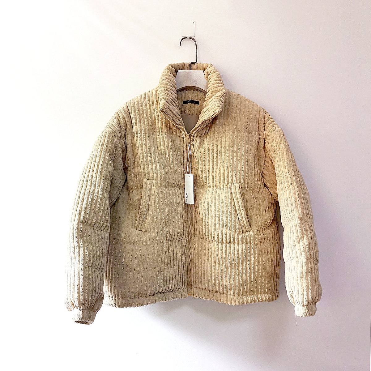 Stand Up Cord Puffer Jacket-Cream