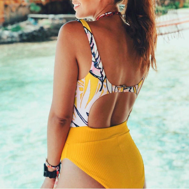 Floral Front Tie Bow Cut Out One Piece Swimsuit - worthtryit.com