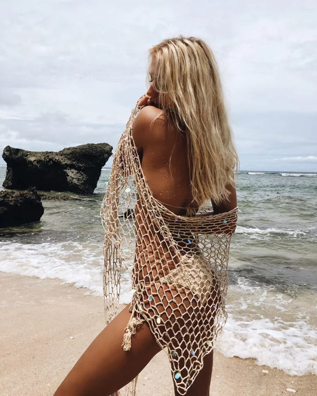 Handmade Colorful Scale Fish Net Triangle Cover-Up - worthtryit.com
