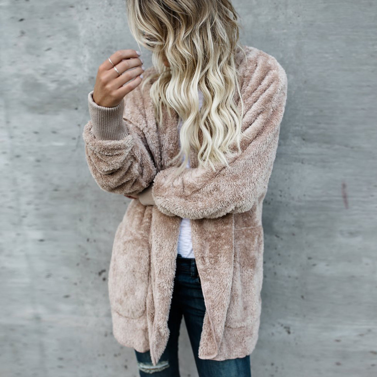 Revers Faux Fur Hoodie Coat - worthtryit.com