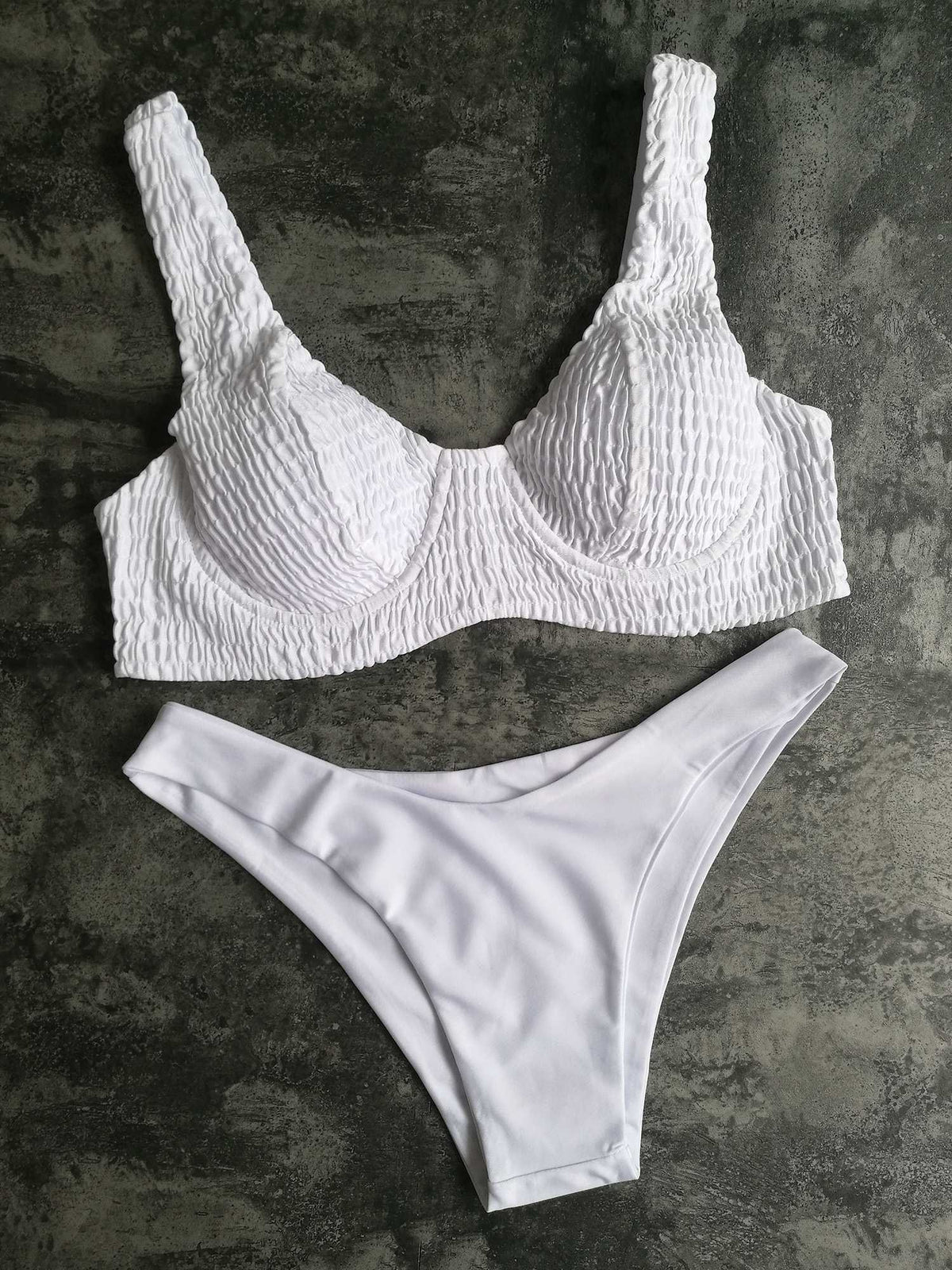 Cute Scrunch Underwear High Cut Bikini Set - worthtryit.com