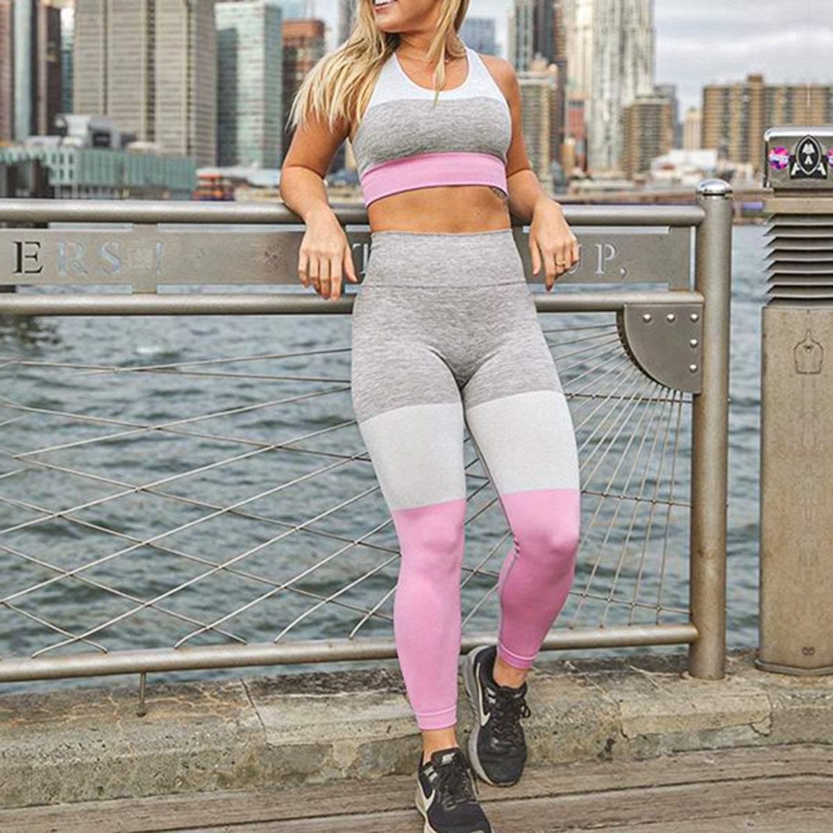 Color Block Crop Top 2 Piece Yoga Sports Fitness Suit